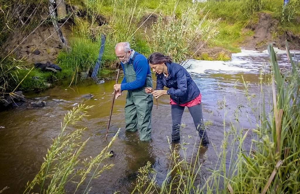 En la imagen se observa a la titular del área de medio ambiente del municipio, Perla Casella junto al investigador de la CIC, realizando trabajos de control del insecto en nuestra ciudad.