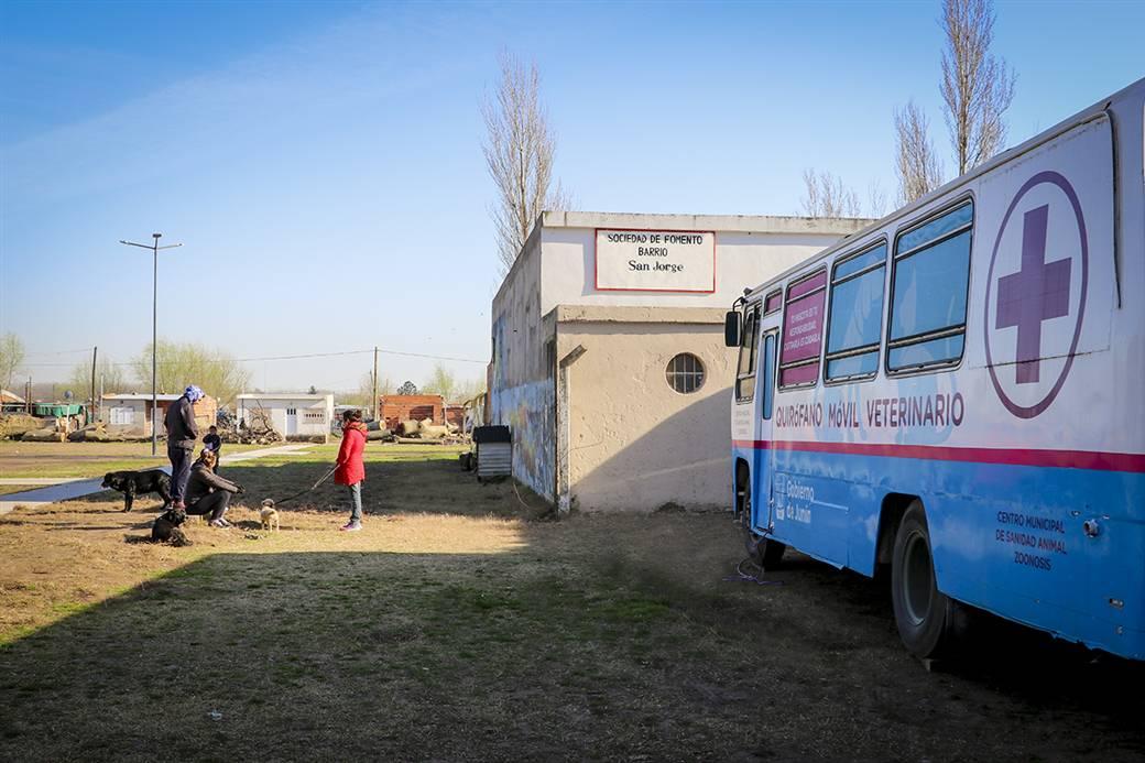 En la imagen se observa el móvil de castraciones del municipio instalado en la sede de la sociedad de fomento del Barrio San Jorge