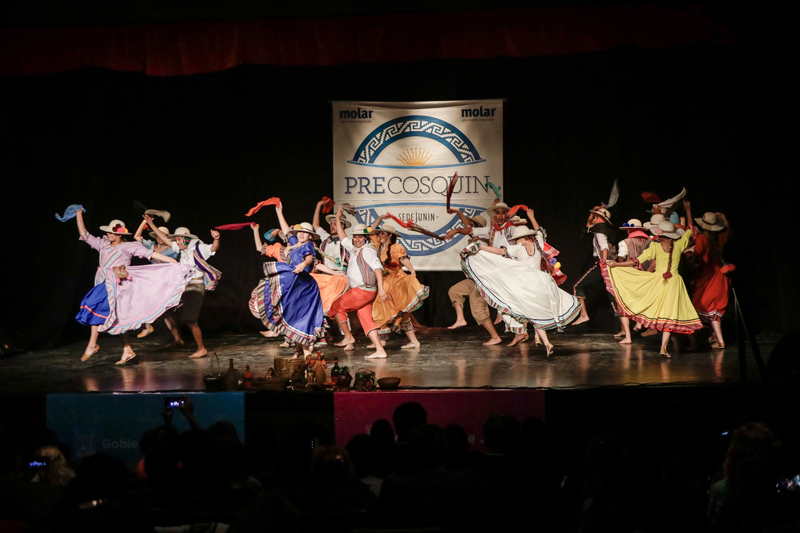 En la imagen se observa a uno de los grupos de danza que participaron del pre Cosquín en nuestra ciudad.